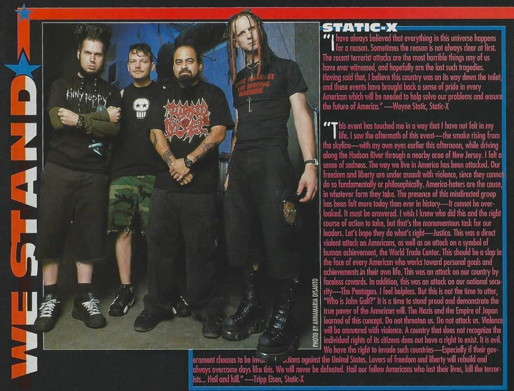 Wayne Static & Tripp Eisen comments about Sept. 11th⁣ Metal Edge Magazine 2001⁣ ...